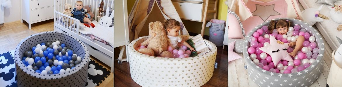 KiddyMoon Baby Ballpit with Balls 7cm /  2.75in Certified, Stars, Grey Stars:  Light Pink/ Pearl/ Transparent