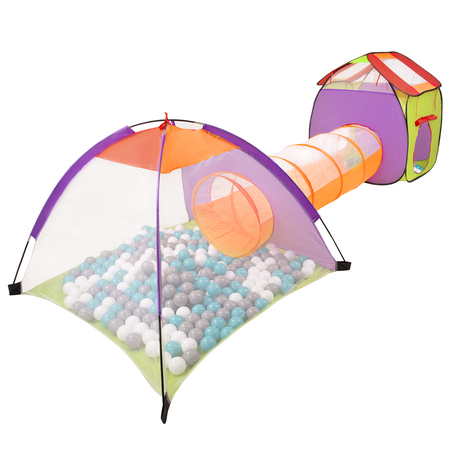3in1 Play Tent with Tunnel Playground Ball Pit with Balls for Kids, Multicolour: Grey/ White/ Turquoise