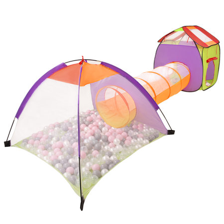 3in1 Play Tent with Tunnel Playground Ball Pit with Balls for Kids, Multicolour: Pearl/ Grey/ Transparent/ Powder Pink