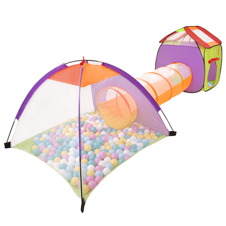 3in1 Play Tent with Tunnel Playground Ball Pit with Balls for Kids, Multicolour: White/ Yellow/ Pink/ Babyblue/ Turquoise