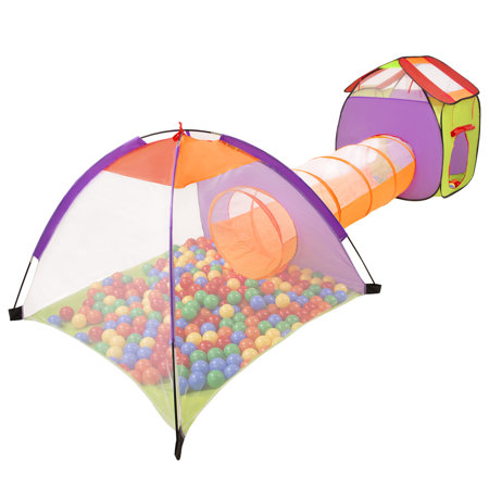3in1 Play Tent with Tunnel Playground Ball Pit with Balls for Kids, Multicolour: Yellow/ Green/ Blue/ Red/ Orange