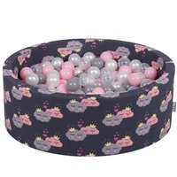 KiddyMoon Baby Ball pit with Balls ∅ 7cm / 2.75in Certified, Clouds-Dark blue: Pearl/ Grey/ Transparent/ Powderpink