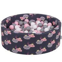 KiddyMoon Baby Ball pit with Balls ∅ 7cm / 2.75in Certified, Clouds-Dark blue: White/ Grey/ Powderpink