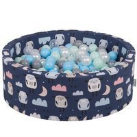 KiddyMoon Baby Ball pit with Balls ∅ 7cm / 2.75in Certified, Sheep-Dark blue: Pearl/ Grey/ Transparent/ Baby blue/ Mint
