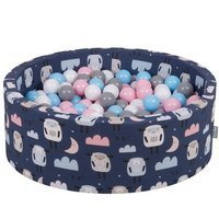 KiddyMoon Baby Ball pit with Balls ∅ 7cm / 2.75in Certified, Sheep-Dark blue: White/ Grey/ Baby blue/ Powderpink