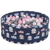 KiddyMoon Baby Ball pit with Balls ∅ 7cm / 2.75in Certified, Sheep-Dark blue: White/ Grey/ Powderpink