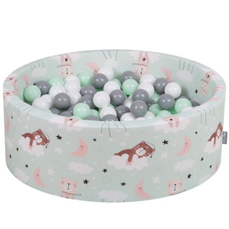KiddyMoon Baby Ballpit with Balls ∅ 7cm / 2.75in Certified, Bears-Green: White/ Grey/ Mint