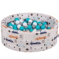 KiddyMoon Baby Ballpit with Balls ∅ 7cm / 2.75in Certified Cars, Cars-Beige/Grey-White-Turquoise
