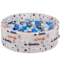 KiddyMoon Baby Ballpit with Balls ∅ 7cm / 2.75in Certified Cars, Cars-Beige/Pearl-Blue-Babyblue-Transparent-Silver