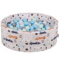 KiddyMoon Baby Ballpit with Balls ∅ 7cm / 2.75in Certified Cars, Cars-Beige/Pearl-Grey-Transparent-Babyblue-Mint