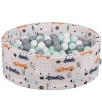 KiddyMoon Baby Ballpit with Balls ∅ 7cm / 2.75in Certified Cars, Cars-Beige/White-Grey-Mint