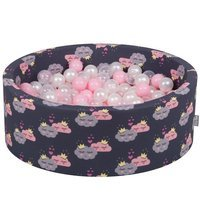 KiddyMoon Baby Ballpit with Balls 7cm /  2.75in Certified, Clouds-Dblue: Powderpink/ Pearl/ Transparent