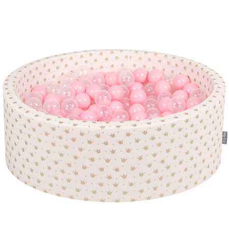 KiddyMoon Baby Ballpit with Balls 7cm /  2.75in Certified, Crown, Ecru-Gold: Light Pink/ Transparent