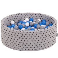 KiddyMoon Baby Ballpit with Balls 7cm / 2.75in Certified, Crown, Grey-Black:Grey/White/Blue