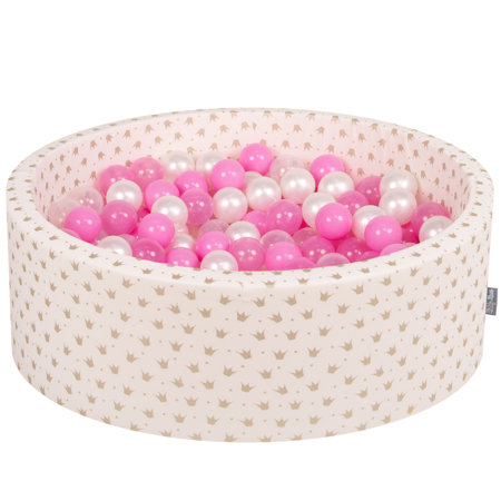 KiddyMoon Baby Ballpit with Balls ∅ 7cm / 2.75in Certified, Ecru-Gold:Pearl/Transparent/Pink/Transp Pink