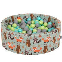 KiddyMoon Baby Ballpit with Balls 7cm /  2.75in Certified, Fox, Fox-Green: Light Green/ Light Turquoise/ Grey