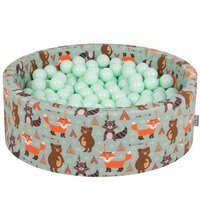 KiddyMoon Baby Ballpit with Balls 7cm /  2.75in Certified, Fox, Fox-Green: Mint
