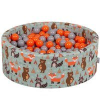 KiddyMoon Baby Ballpit with Balls 7cm /  2.75in Certified, Fox, Fox-Green: Orange/ Grey