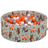 KiddyMoon Baby Ballpit with Balls 7cm /  2.75in Certified, Fox, Fox-Green: Orange/ Grey/ White