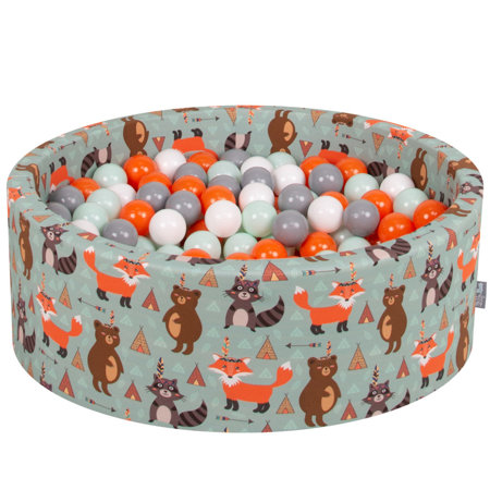 KiddyMoon Baby Ballpit with Balls 7cm /  2.75in Certified, Fox, Fox-Green: Orange/ Mint/ Grey/ White