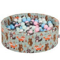 KiddyMoon Baby Ballpit with Balls 7cm /  2.75in Certified, Fox, Fox-Green: Pearl/ Powder Pink/ Babyblue/ Mint/ Silver