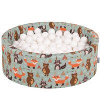 KiddyMoon Baby Ballpit with Balls 7cm /  2.75in Certified, Fox, Fox-Green: White