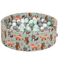 KiddyMoon Baby Ballpit with Balls 7cm /  2.75in Certified, Fox, Fox-Green: White/ Grey/ Mint