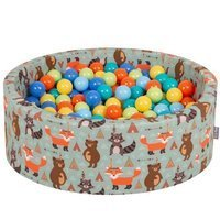 KiddyMoon Baby Ballpit with Balls 7cm /  2.75in Certified, Fox, Foxes: L.Green/ Orange/ Turquoise/ Blue/ Bblue/ Yellow