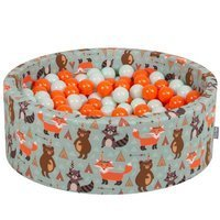 KiddyMoon Baby Ballpit with Balls ∅ 7cm / 2.75in Certified, Foxes: Orange/ Mint