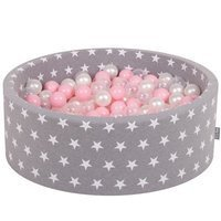 KiddyMoon Baby Ballpit with Balls ∅ 7cm / 2.75in Certified, Grey Stars: Light Pink/Pearl/Transparent