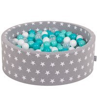 KiddyMoon Baby Ballpit with Balls ∅ 7cm / 2.75in Certified, Grey Stars: Lt Turquoise/White/Transp/Turquoise