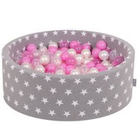 KiddyMoon Baby Ballpit with Balls ∅ 7cm / 2.75in Certified, Grey Stars: Pearl/Transp/Pink/Transparent Pink
