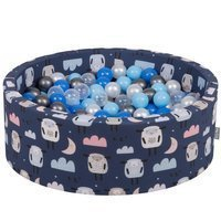 KiddyMoon Baby Ballpit with Balls ∅ 7cm / 2.75in Certified, Sheep-Dark blue: Pearl/ Blue/ Baby blue/ Transparent/ Silver