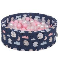 KiddyMoon Baby Ballpit with Balls ∅ 7cm / 2.75in Certified, Sheep-Dark blue: Powderpink/ Pearl/ Transparent