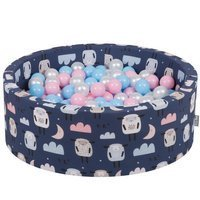 KiddyMoon Baby Ballpit with Balls ∅ 7cm / 2.75in Certified, Sheep-Dblue/Babyblue-Powderpink-Pearl