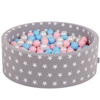 KiddyMoon Baby Ballpit with Balls 7cm / 2.75in Certified, Stars, Grey Stars: Baby Blue/Light Pink/Pearl
