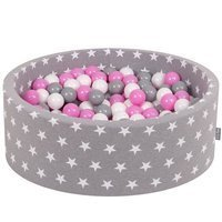 KiddyMoon Baby Ballpit with Balls 7cm / 2.75in Certified, Stars, Grey Stars: Grey/White/Pink