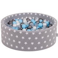 KiddyMoon Baby Ballpit with Balls 7cm / 2.75in Certified, Stars, Grey Stars: Transparent/Silver/Pearl/Baby Blue
