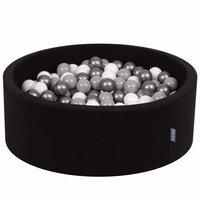 KiddyMoon Baby Foam Ball Pit 90x40 with Balls ∅ 7cm/2.75in Certified, Black:White-Grey-Light Turquoise