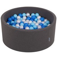 KiddyMoon Baby Foam Ball Pit 90x40 with Balls 7cm/ 2.75in Certified, Dark Grey: Baby Blue/ Blue/ Pearl