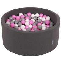 KiddyMoon Baby Foam Ball Pit 90x40 with Balls 7cm/ 2.75in Certified, Dark Grey: Grey/ White/ Pink