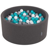 KiddyMoon Baby Foam Ball Pit 90x40 with Balls 7cm/ 2.75in Certified, Dark Grey: Grey/ White/ Turquoise