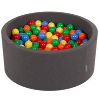 KiddyMoon Baby Foam Ball Pit 90x40 with Balls 7cm/ 2.75in Certified, Dark Grey: Yellow/ Green/ Blue/ Red/ Orange