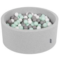 KiddyMoon Baby Foam Ball Pit 90x40 with Balls 7cm/2.75in Certified, L Grey:White/Grey/Mint