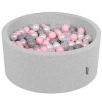 KiddyMoon Baby Foam Ball Pit 90x40 with Balls 7cm/2.75in Certified, Light Grey/Pearl/Grey/Transparent/Light Pink