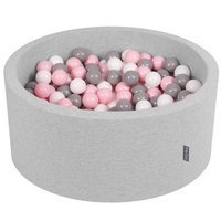 KiddyMoon Baby Foam Ball Pit 90x40 with Balls 7cm/ 2.75in Certified, Light Grey: White/ Grey/ Light Pink