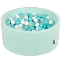 KiddyMoon Baby Foam Ball Pit 90x40 with Balls 7cm/ 2.75in Certified, Mint: Light Turquoise/ White/ Transparent