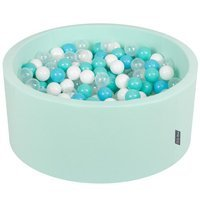 KiddyMoon Baby Foam Ball Pit 90x40 with Balls 7cm/ 2.75in Certified, Mint: Light Turquoise/ White/ Transparent/ Baby Blue