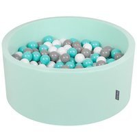 KiddyMoon Baby Foam Ball Pit 90x40 with Balls 7cm/ 2.75in Certified, Mint: White/ Grey/ Light Turquoise