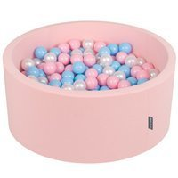 KiddyMoon Baby Foam Ball Pit 90x40 with Balls 7cm/ 2.75in Certified, Pink: Baby Blue/ Light Pink/ Pearl